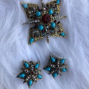 Vintage costume earrings and brooch set